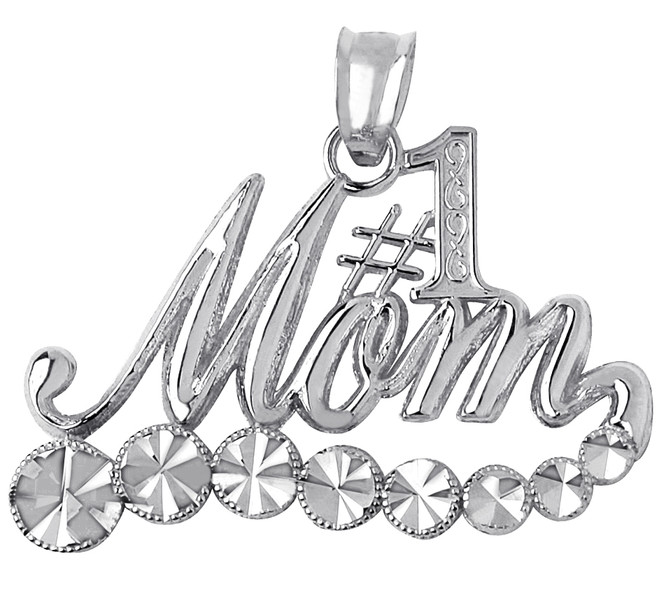 Mom Silver Pendant with White Sparkle Gold