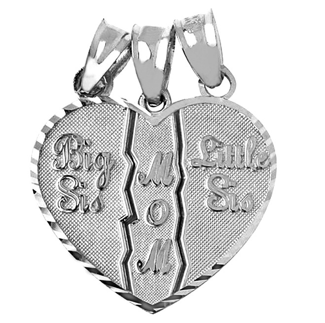Big Sis, Little Sis, Mom Silver Pendant