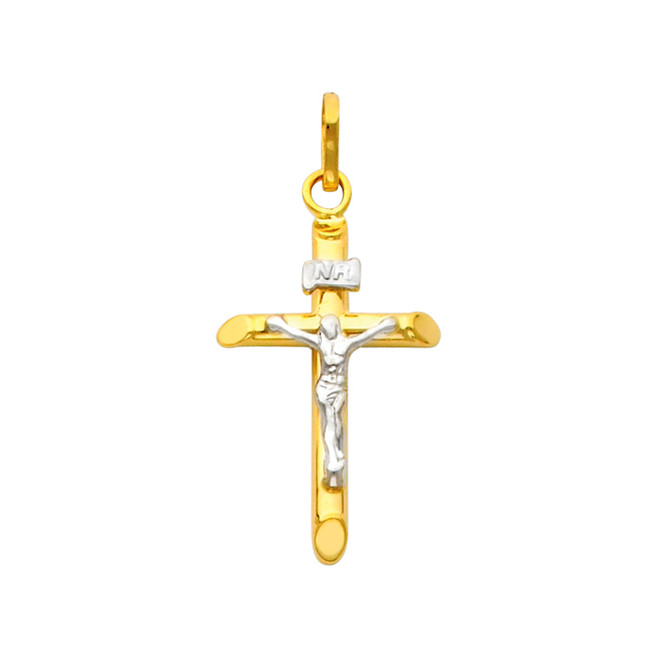 14K Gold Two-Tone Dainty Crucifix