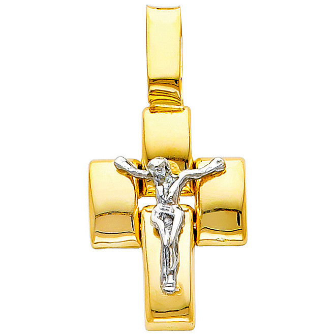 Two-Tone 14K Gold Spiritual Crucifix