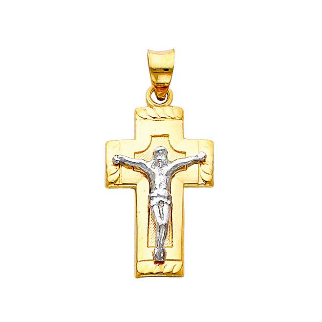 14K Two-Tone Inspirational Crucifix