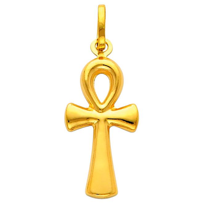 14K Gold Egyptian Ankh Cross Pendant