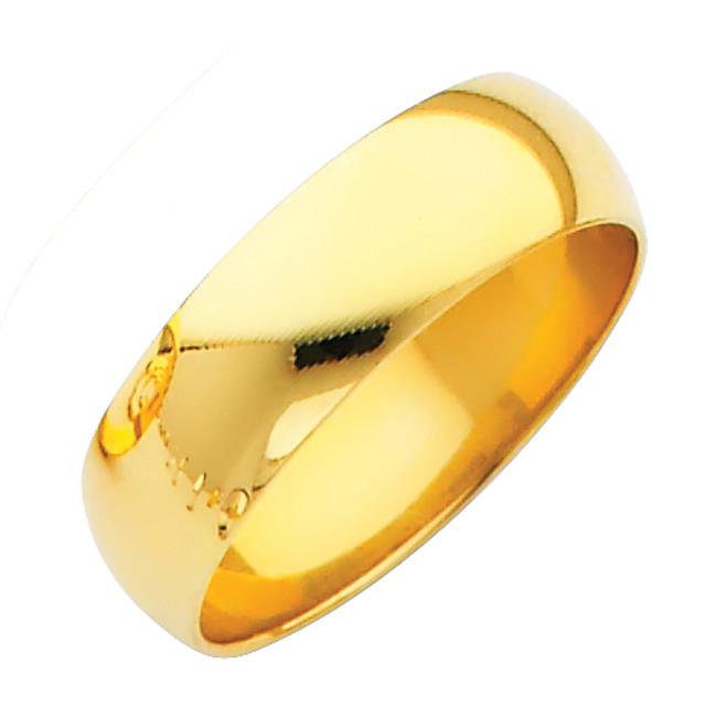 Gold Classic Wedding Band - 6MM
