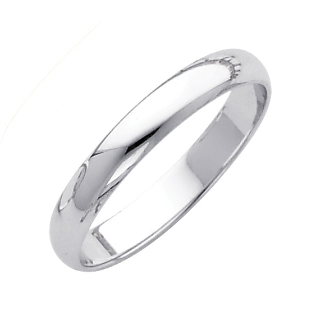 White Gold Classic Wedding Band - 3MM