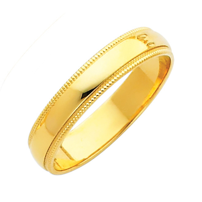 14K Gold Milgrain Classic Wedding Band 4MM