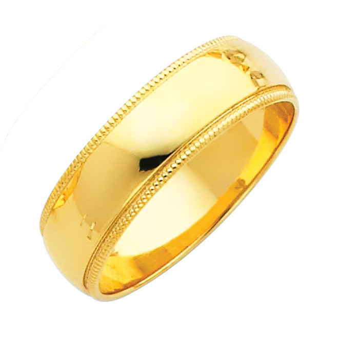14K Milgrain Gold Classic Wedding Band - 6MM