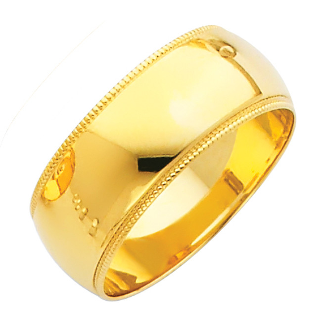 14K Milgrain Gold Classic Wedding Band - 8MM