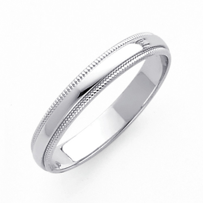 14K Milgrain White Gold Classic Wedding Band - 3MM