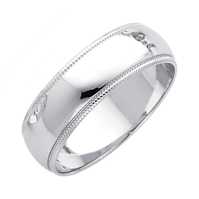 14K Milgrain White Gold Classic Wedding Band - 6MM