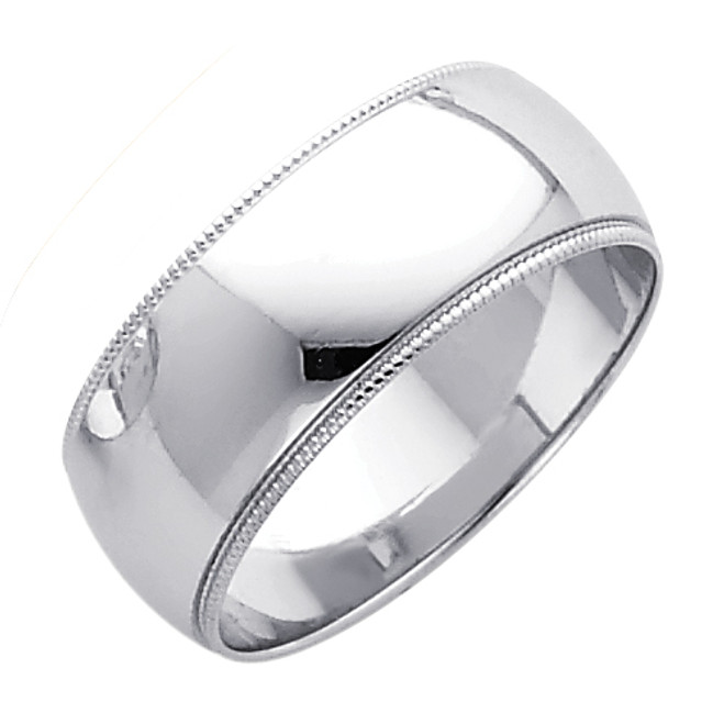 14K Milgrain White Gold Classic Wedding Band - 8MM