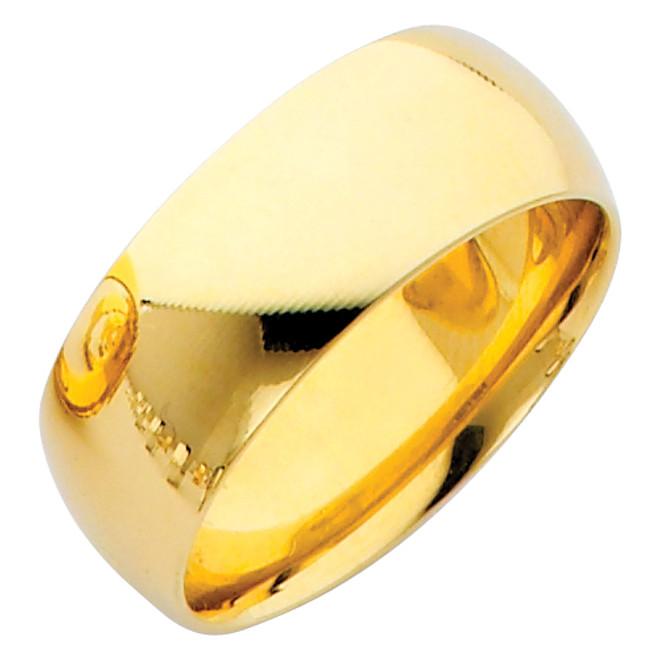 Polished Gold Classic Comfort Fit Wedding Band - 8MM