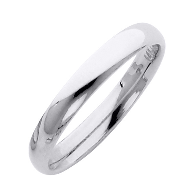 White Gold Classic Comfort Fit Wedding Band 3MM