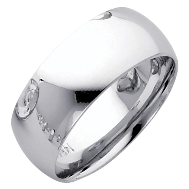Polished White Gold Classic Comfort Fit Wedding Band - 8MM