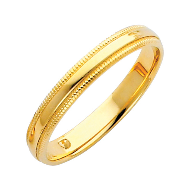 14K Gold Milgrain Comfort Fit Wedding Band 3MM