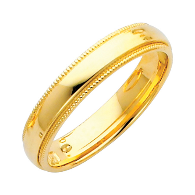 14K Gold Milgrain Comfort Fit Wedding Band 4MM