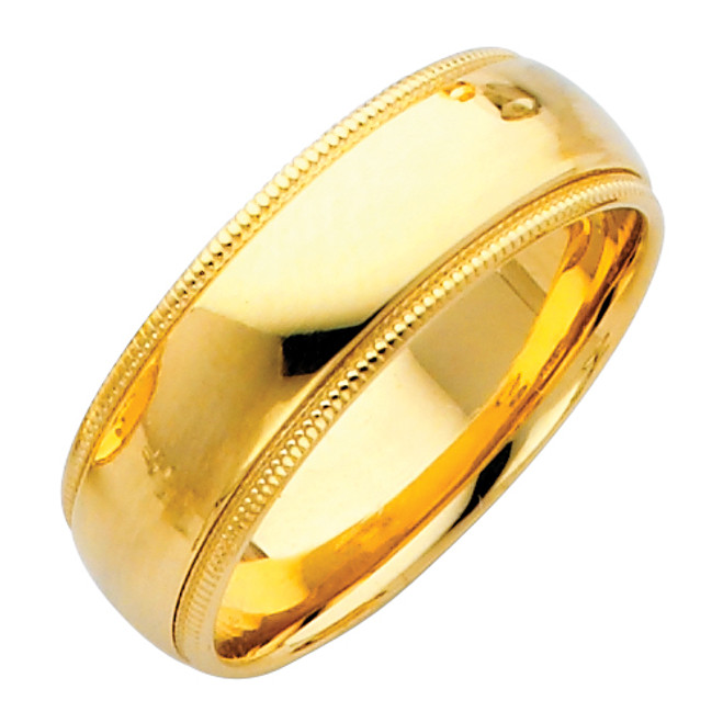 14K Gold Milgrain Comfort Fit Wedding Band 7MM