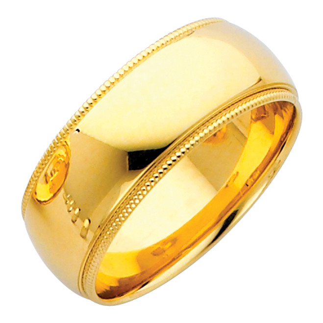 14K Gold Milgrain Comfort Fit Wedding Band 8MM