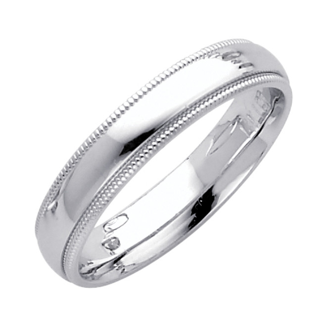 14K White Gold Milgrain Comfort Fit Wedding Band 4MM