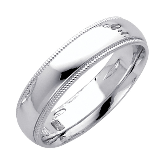 14K White Gold Milgrain Comfort Fit Wedding Band 5MM