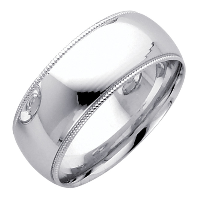 14K White Gold Classic Wedding Band 8MM