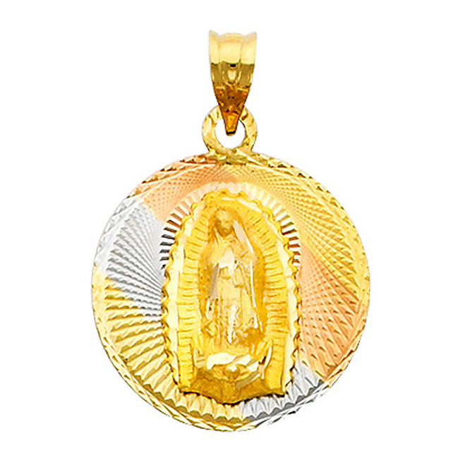 """Tri-Color """"Our Lady of Guadalupe"""" Pendant- 0.75 Inch"""