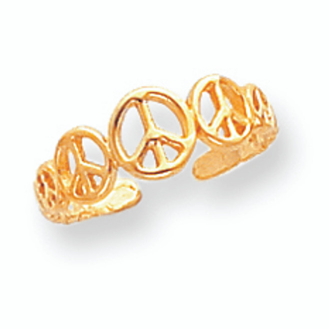Yellow Gold Peace Sign Toe Ring