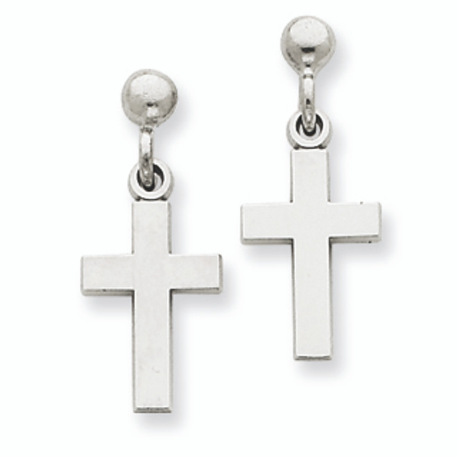 White Gold Polished Cross Earrings