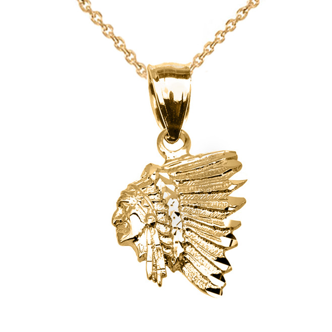 Yellow Gold Native American Indian Head Pendant Necklace