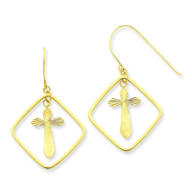 Cross in Square Dangle Earrings