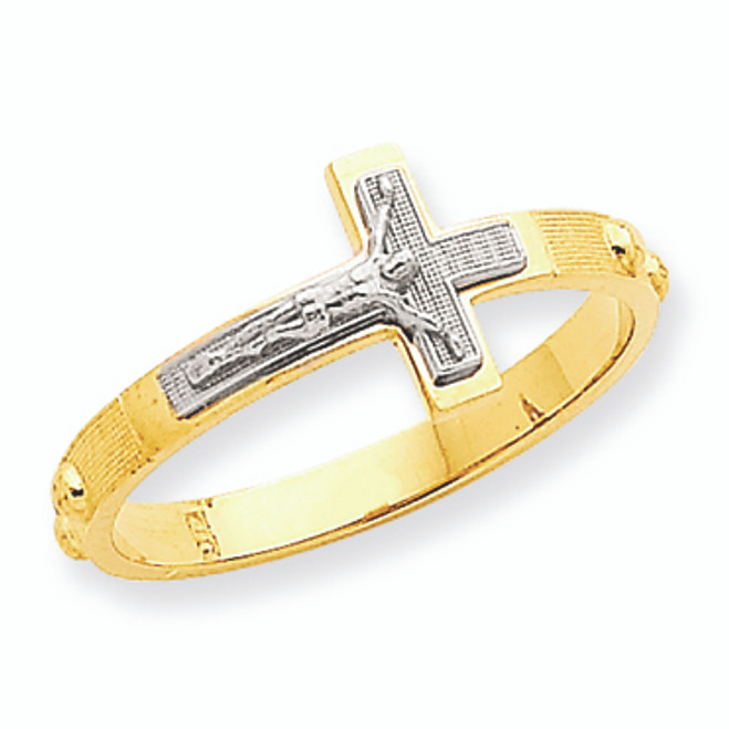 Two-Tone Crucifix Rosary Ring