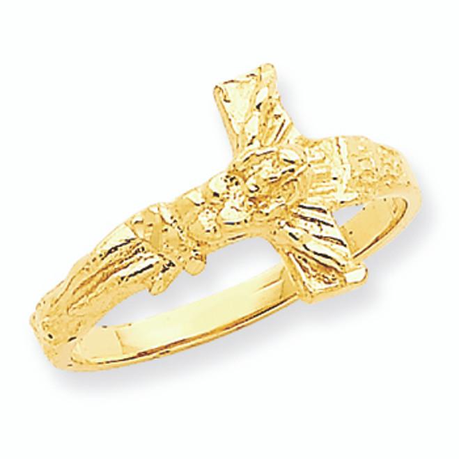 Diamond-Cut Crucifix Ring
