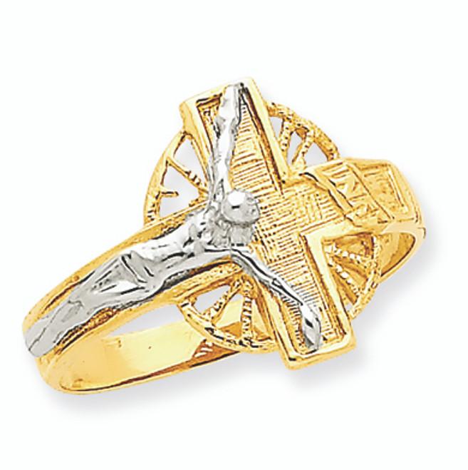 Two-Tone Polished & Diamond-Cut Mens Crucifix Ring 14K