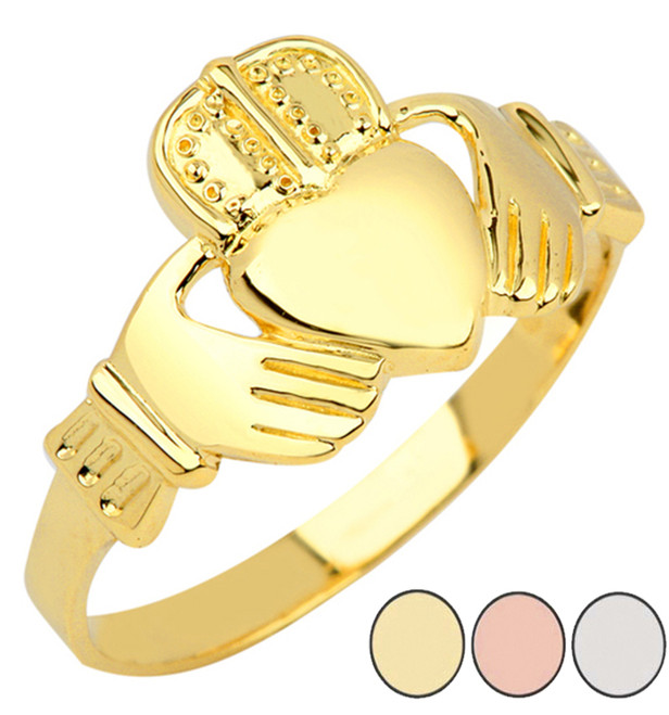 Claddagh Mens Ring in Gold (Yellow/Rose/White)