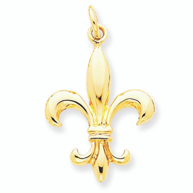 14K Gold Fleur de lis Classic Solid Pendant