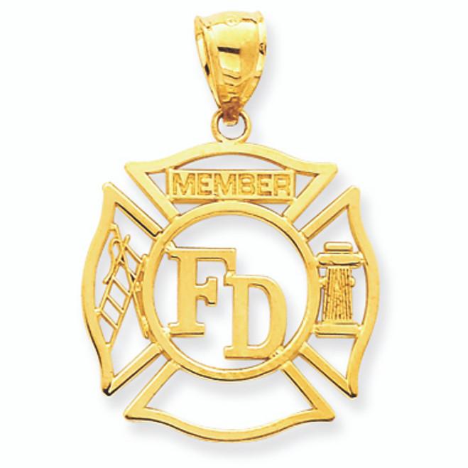 14K Gold Open-Cut Fireman Badge Pendant