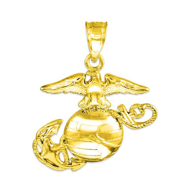 Gold US Marine Corps Small Pendant
