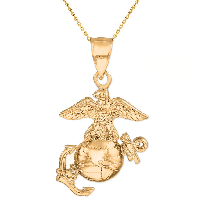 Gold US Marine Corps Large Pendant