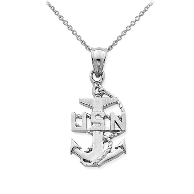 White Gold USA Navy Anchor Symbol Pendant Necklace