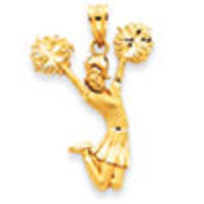 14K Gold Diamond-Cut Cheerleader Pendant