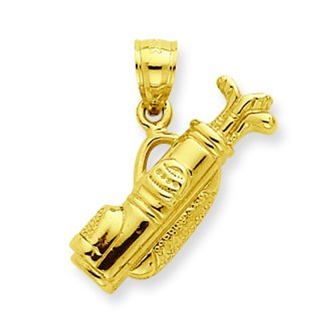 14K Gold Golf Bag with Clubs Pendant