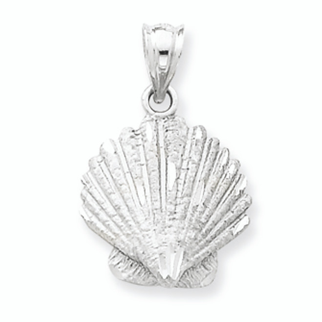 14K White Gold Shell Charm