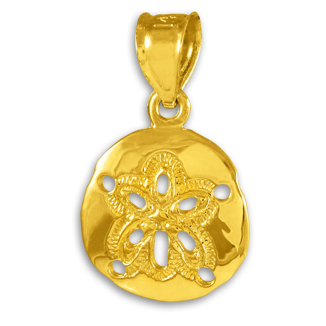 14K Gold Polished Sand Dollar Pendant