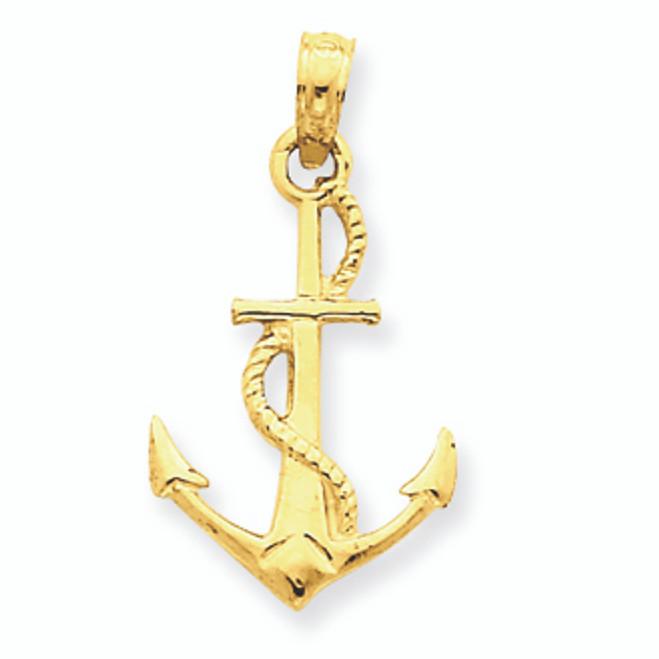 14K Gold Anchor Pendant