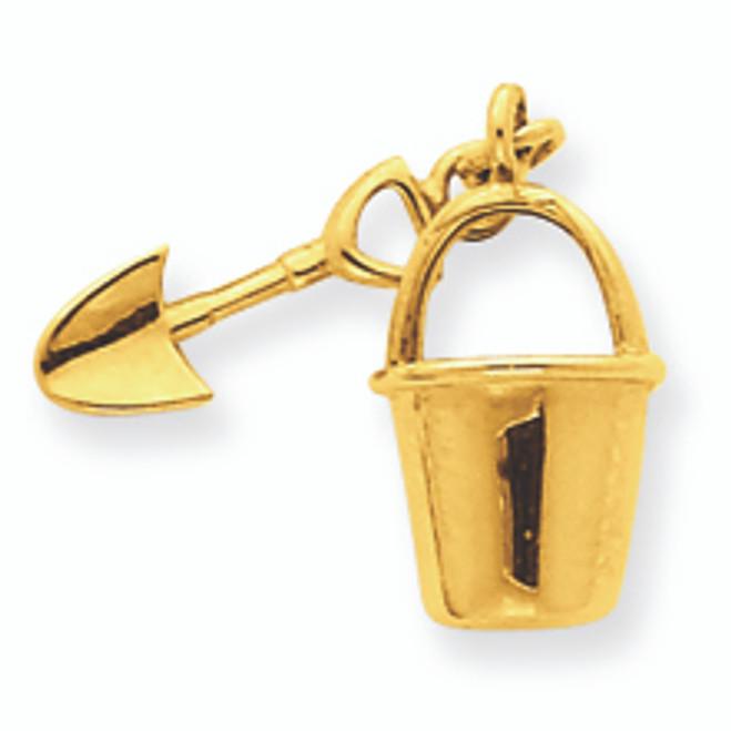 14K Gold and Shovel Pendant