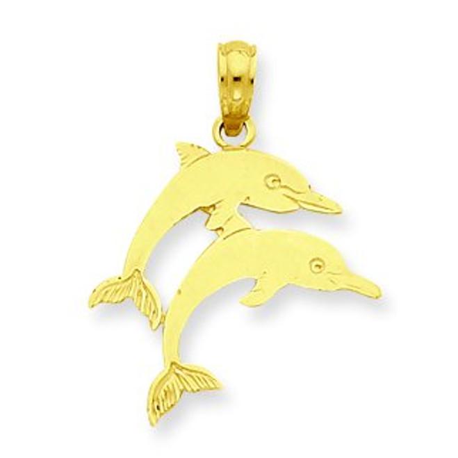 14K Gold Light Dolphin Pendant