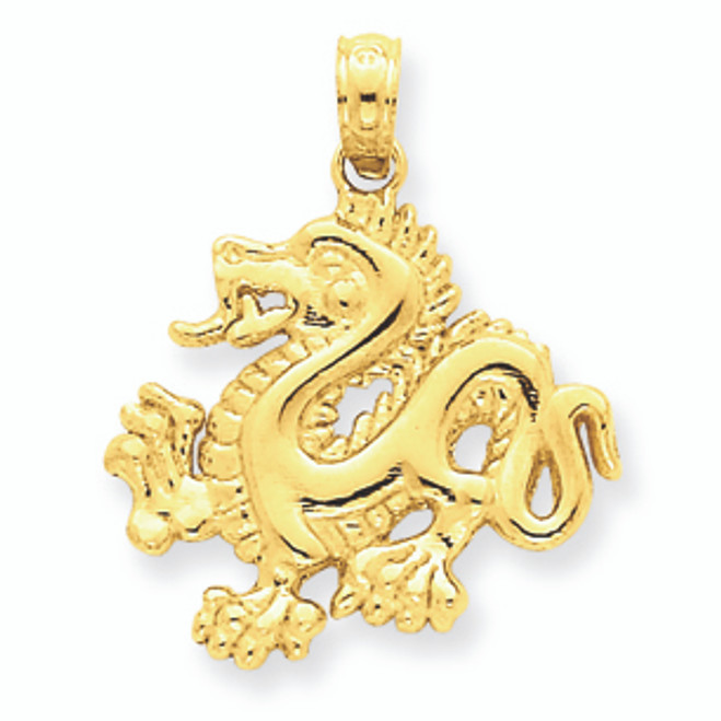 14K Gold Dragon Pendant