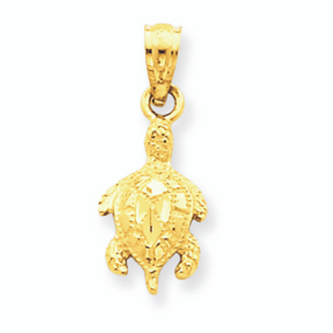 14K Gold Turtle Pendant