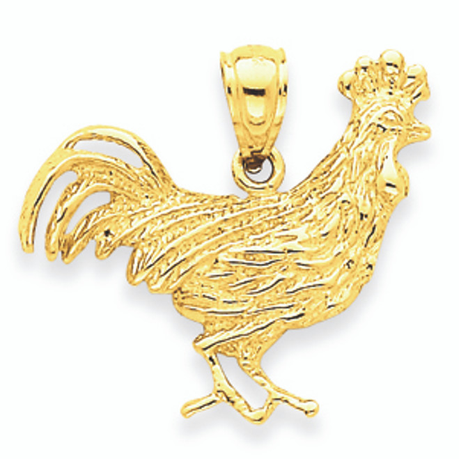 14K Gold Rooster Pendant