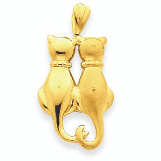 14K Gold Cats Pendant