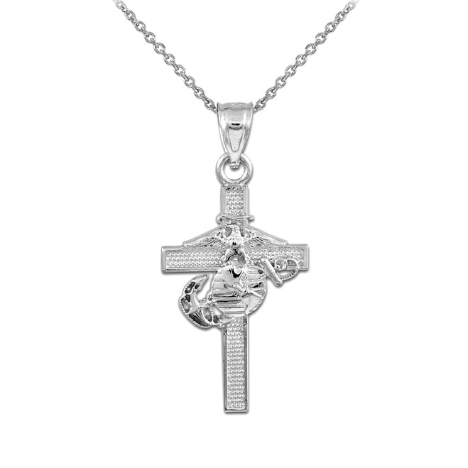 Silver US Marine Corp Medium Cross Pendant Necklace